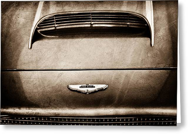 1961 Greeting Cards - 1961 Aston Martin DB4 Coupe Emblem Greeting Card by Jill Reger
