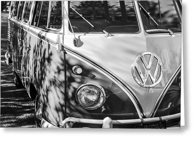 1961 Volkswagen Vw 23-window Deluxe Station Wagon Emblem Greeting Card by Jill Reger