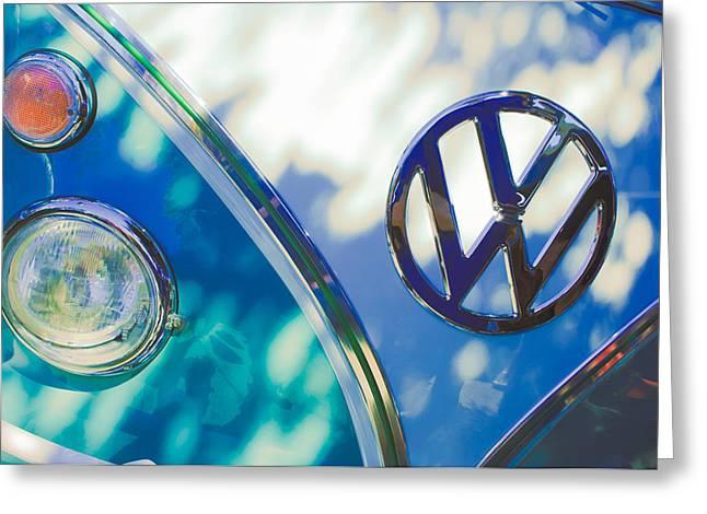 Volkswagon Greeting Cards - 1961 Volkswagen VW Transporter Emblem Greeting Card by Jill Reger