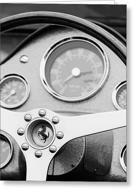 D.w Greeting Cards - 1962 Ferrari 196 SP Dino Fantuzzi Spyder Steering Wheel Emblem Greeting Card by Jill Reger