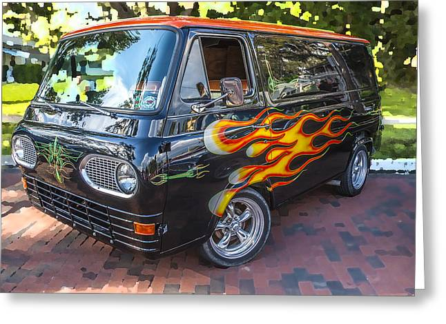 Wrapped Around Greeting Cards - 1962 Ford Econoline Van BW  Greeting Card by Rich Franco