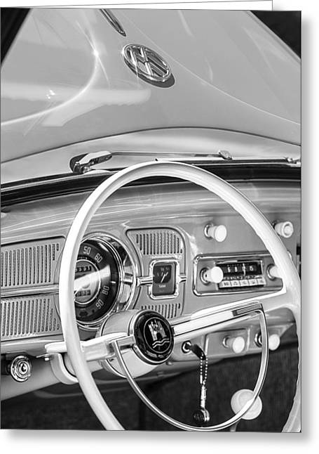 Volkswagen Beetle Greeting Cards - 1962 Volkswagen VW Beetle Cabriolet Steering Wheel Greeting Card by Jill Reger