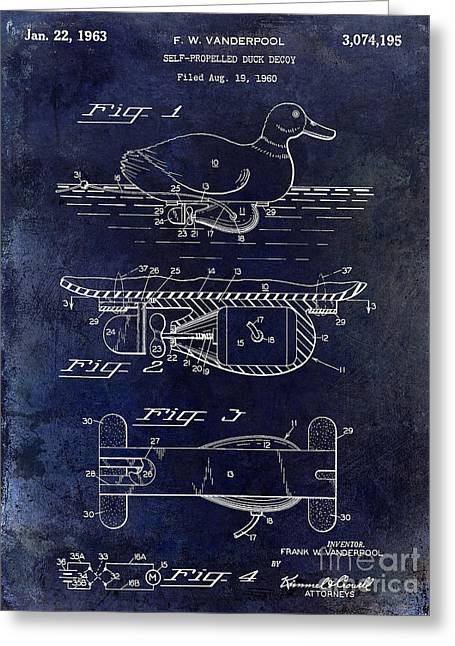 Duck Hunting Greeting Cards - 1963 Duck Decoy Patent Drawing Greeting Card by Jon Neidert