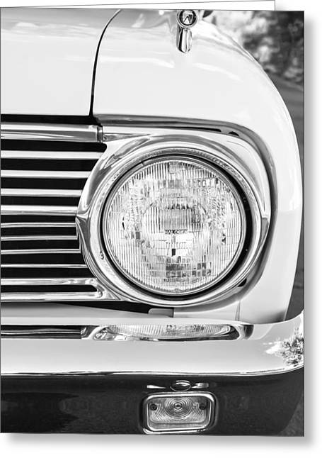 Headlight Greeting Cards - 1963 Ford Falcon Futura Convertible Headlight - Hood Ornament Greeting Card by Jill Reger