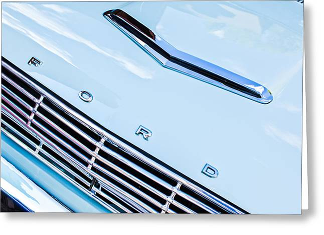 1963 Ford Greeting Cards - 1963 Ford Falcon Futura Convertible Hood Emblem Greeting Card by Jill Reger
