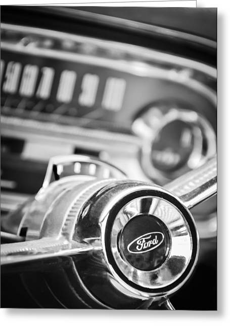 1963 Ford Greeting Cards - 1963 Ford Falcon Futura Convertible Steering Wheel Emblem Greeting Card by Jill Reger