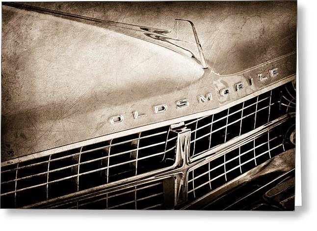 Starfire Photographs Greeting Cards - 1963 Oldsmobile Starfire Grille Emblem Greeting Card by Jill Reger