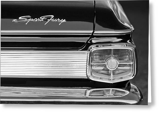 1963 Greeting Cards - 1963 Plymouth Sport Fury Taillight Emblem Greeting Card by Jill Reger