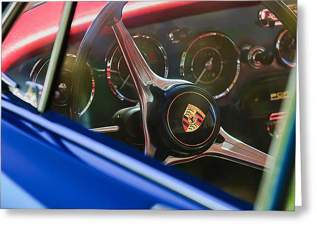 Steering Greeting Cards - 1963 Porsche 356 B 1600 Coupe Steering Wheel Emblem Greeting Card by Jill Reger