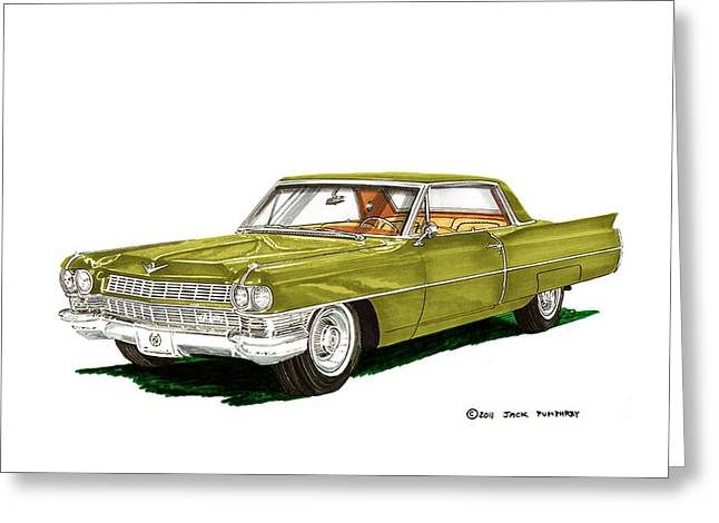 Caddy Paintings Greeting Cards - 1964 Cadillac Coupe DeVille Greeting Card by Jack Pumphrey