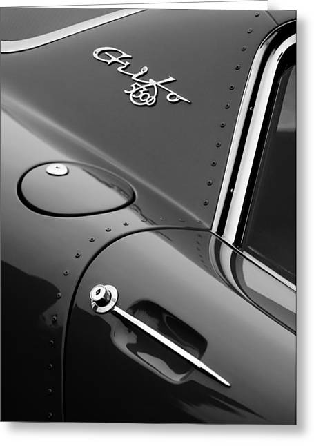 D.w Greeting Cards - 1964 Iso Grifo 5300 A3C Drogo Coupe Emblem Greeting Card by Jill Reger