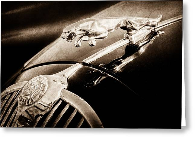 Saloons Greeting Cards - 1964 Jaguar MK2 Saloon Hood Ornament and Emblem Greeting Card by Jill Reger