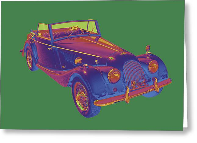 Antique Automobiles Greeting Cards - 1964 Morgan Plus 4 Convertible Pop Art Greeting Card by Keith Webber Jr