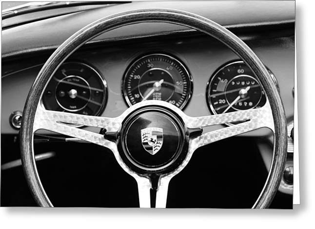Steering Greeting Cards - 1964 Porsche C Steering Wheel Greeting Card by Jill Reger