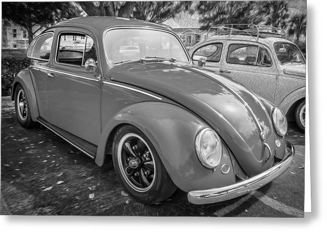 Vw Beetle Greeting Cards - 1964 Volkswagen Beetle VW Bug  BW  Greeting Card by Rich Franco