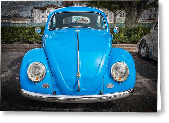 Vw Beetle Greeting Cards - 1964 Volkswagen Beetle VW Bug Greeting Card by Rich Franco