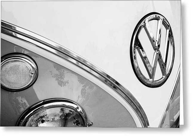 Transportation Greeting Cards - 1964 Volkswagen Samba 21 Window Bus VW Emblem Greeting Card by Jill Reger