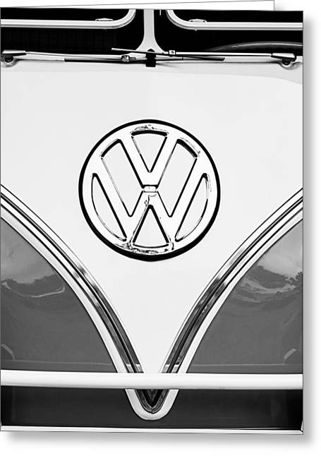 21 Greeting Cards - 1964 Volkswagen VW Samba 21 Window Bus Emblem Greeting Card by Jill Reger