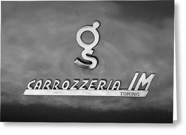 Torino Greeting Cards - 1965 Apollo 3500 GT Carrozzeria IM Torino Emblem Greeting Card by Jill Reger