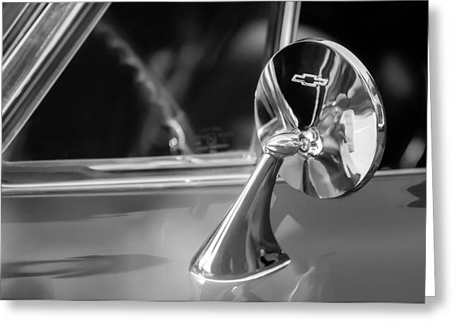 Rear View Mirror Greeting Cards - 1965 Chevrolet Corvette Rear View Mirror Emblem Greeting Card by Jill Reger