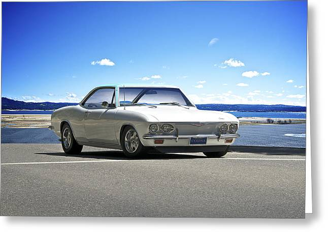 High-performance Luxury Car Greeting Cards - 1965 Corvair Corsa Turbo Greeting Card by Dave Koontz