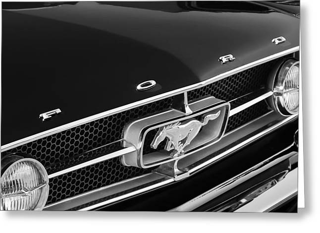 American Muscle Car Greeting Cards - 1965 Ford Mustang Grille Emblem Greeting Card by Jill Reger