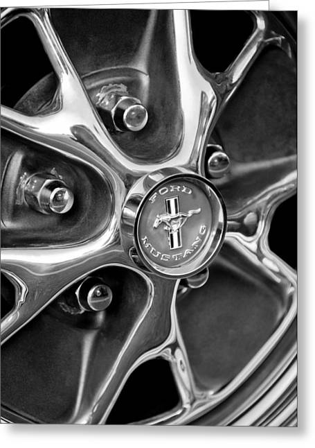 1965 Ford Mustang Greeting Cards - 1965 Ford Mustang Wheel Emblem Greeting Card by Jill Reger