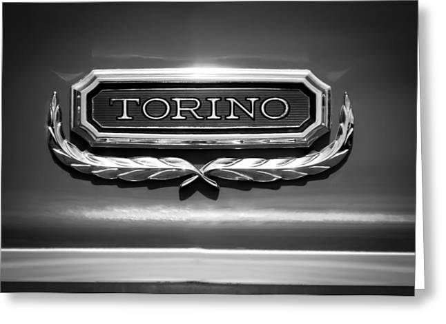 Torino Greeting Cards - 1965 Ford Torino Emblem Greeting Card by Jill Reger