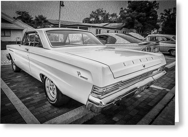 289 Motor Greeting Cards - 1965 Mercury Comet Cyclone GT  Painted BW Greeting Card by Rich Franco