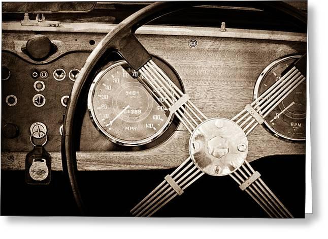 Plus Greeting Cards - 1965 Morgan Plus 4 Steering Wheel Greeting Card by Jill Reger