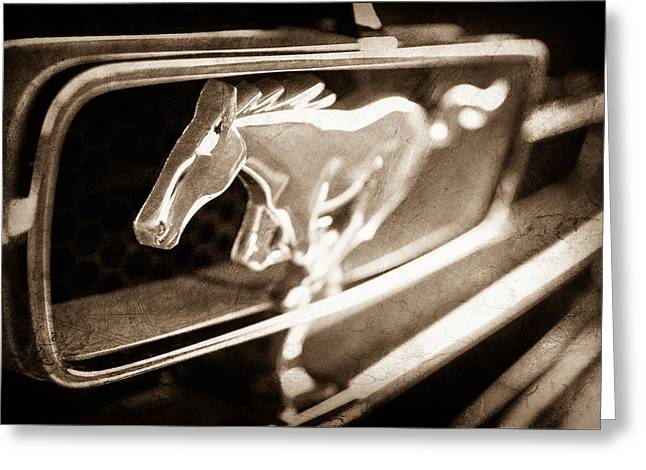 1965 Ford Mustang Greeting Cards - 1965 Shelby Prototype Ford Mustang Grille Emblem Greeting Card by Jill Reger