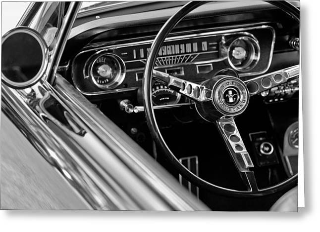 Bw Greeting Cards - 1965 Shelby prototype Ford Mustang Steering Wheel Greeting Card by Jill Reger
