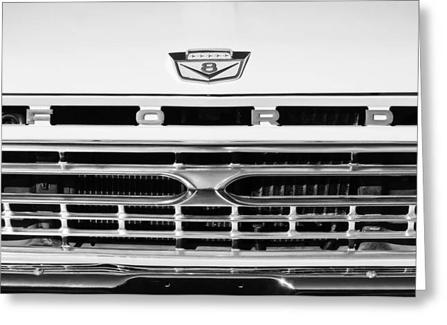 Classic Pickup Greeting Cards - 1966 Ford Pickup Truck Grille Emblem Greeting Card by Jill Reger