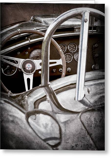 Steering Greeting Cards - 1966 Shelby 427 Cobra Steering Wheel Emblem Greeting Card by Jill Reger