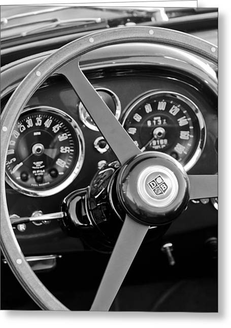 Steering Greeting Cards - 1967 Aston Martin DB6 Volante Steering Wheel Emblem Greeting Card by Jill Reger