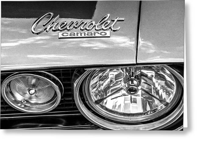 Headlight Greeting Cards - 1967 Chevrolet Camaro SS 350 Headlight - Hood Emblem  Greeting Card by Jill Reger