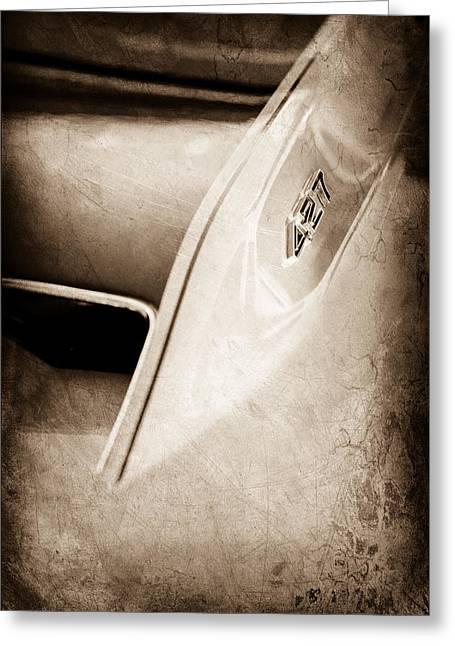 427 Greeting Cards - 1967 Chevrolet Corvette 427 Hood Emblem Greeting Card by Jill Reger