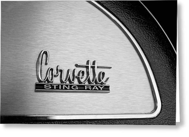 Glove Box Greeting Cards - 1967 Chevrolet Corvette Glove Box Emblem Greeting Card by Jill Reger