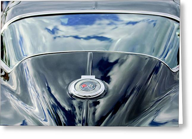 Collector Car Greeting Cards - 1967 Chevrolet Corvette Rear Emblem Greeting Card by Jill Reger