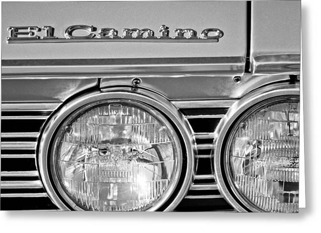Classic Pickup Greeting Cards - 1967 Chevrolet El Camino Pickup Truck Headlight Emblem Greeting Card by Jill Reger