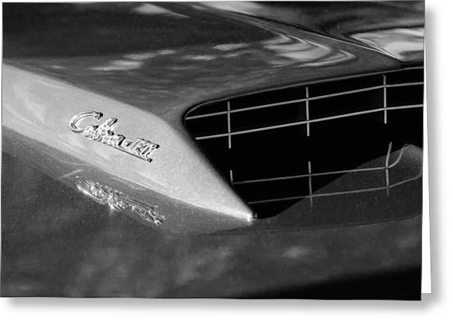 Ford Cobras Greeting Cards - 1967 Ford Mustang Cobra Jet Hood Emblem Greeting Card by Jill Reger