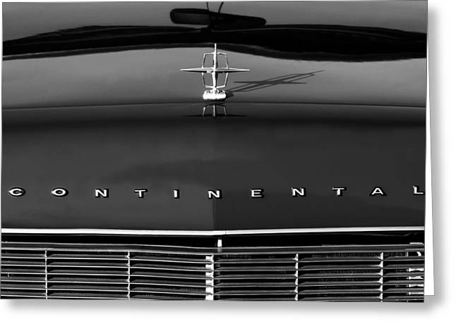 1967 Greeting Cards - 1967 Lincoln Continental Hood Ornament Grille Emblem Greeting Card by Jill Reger
