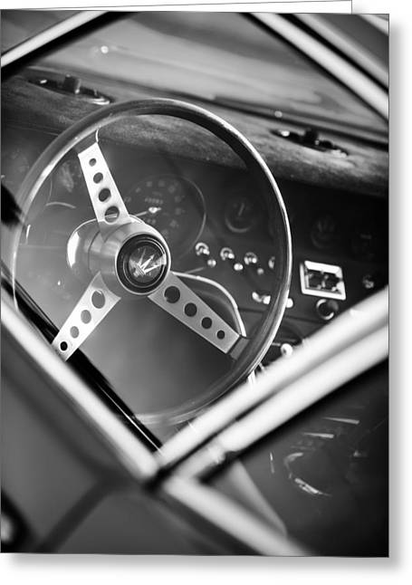 1967 Greeting Cards - 1967 Maserati Ghibi Steering Wheel Emblem Greeting Card by Jill Reger
