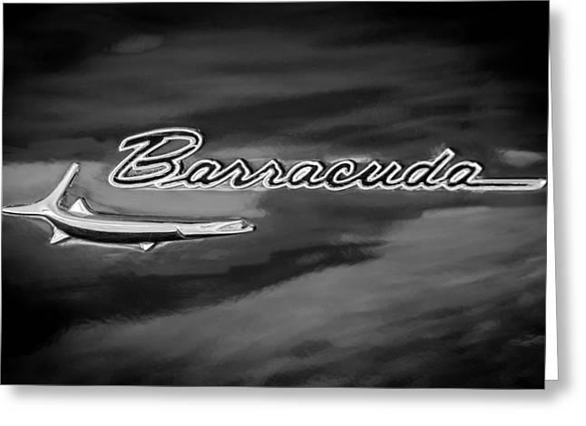 Cuda Greeting Cards - 1967 Plymouth Barracuda Emblem Greeting Card by Jill Reger
