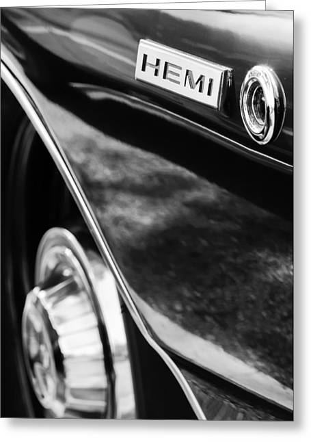 68 Greeting Cards - 1968 Dodge Charger Rt Coupe 426 Hemi Upgrade Emblem Greeting Card by Jill Reger