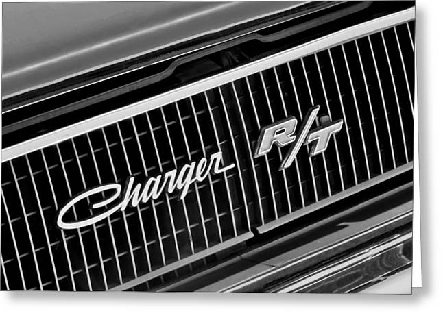 Hemi Greeting Cards - 1968 Dodge Charger RT Coupe 426 Hemi Upgrade Grille Emblem Greeting Card by Jill Reger