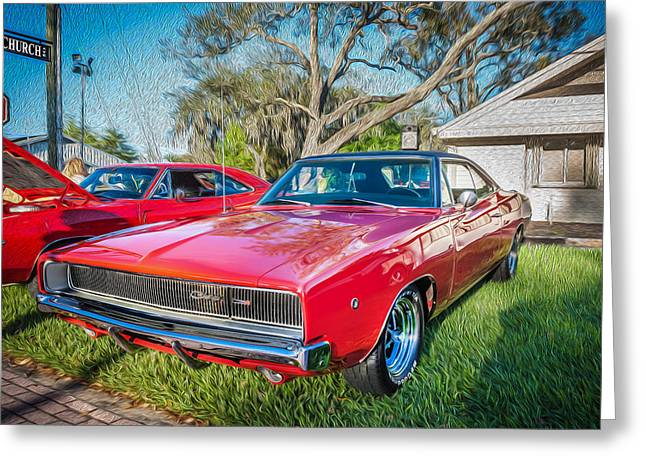American Automobiles Greeting Cards - 1968 Dodge Charger the Bullit Car Painted Greeting Card by Rich Franco