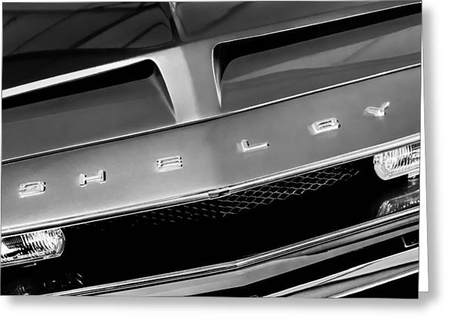 68 Greeting Cards - 1968 Shelby GT 500 KR Fastback Grille Emblem Greeting Card by Jill Reger
