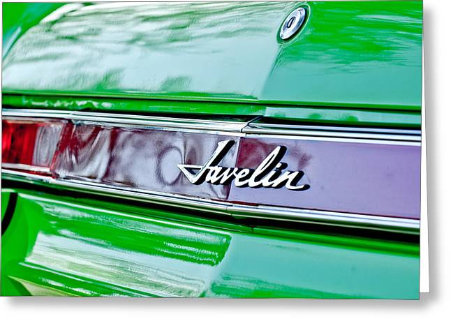 Amc Greeting Cards - 1969 AMC Javelin SST Taillight Emblem Greeting Card by Jill Reger