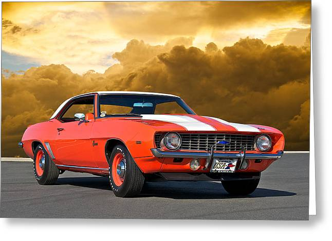 American Automobiles Greeting Cards - 1969 Camaro COPO Greeting Card by Dave Koontz
